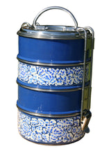 Load image into Gallery viewer, Handpainted Kashmiri Blue 4-tier Tiffin