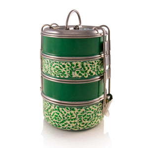 Handbemalte Kashmiri Green 4-Tier Tiffin