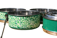 Lade das Bild in den Galerie-Viewer, Handbemalte Kashmiri Green 4-Tier Tiffin