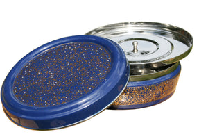 Blue & Gold Designed Handpainted Masala Dabba