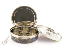Load image into Gallery viewer, Blue & Gold Designed Handpainted Masala Dabba