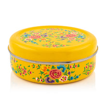 Load image into Gallery viewer, Yellow Flower Designed Handpainted Masala Dabba