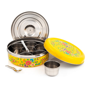 Yellow Flower Designed Handpainted Masala Dabba