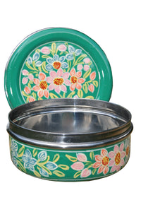 Green & Red Flower Handpainted Cookie Tin