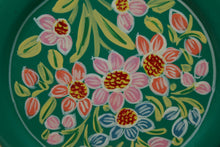 Load image into Gallery viewer, Green & Red Flower Handpainted Cookie Tin