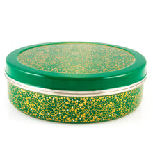 Load image into Gallery viewer, Green & Gold Designed Handpainted Masala Dabba