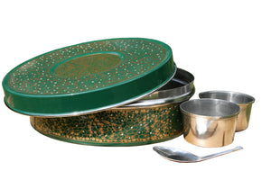 Green & Gold Designed Handpainted Masala Dabba