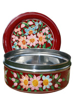 Load image into Gallery viewer, Red Flower Handpainted Cookie Tin
