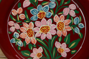 Red Flower Handpainted Cookie Tin