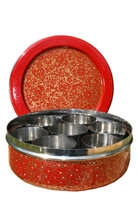 Red & Gold Designed Handpainted Masala Dabba