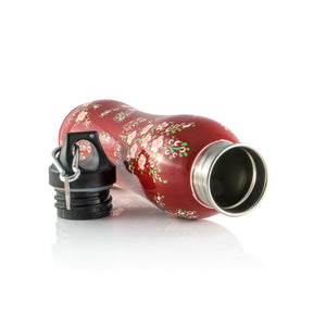 Handpainted Stainless Steel Red Bottle