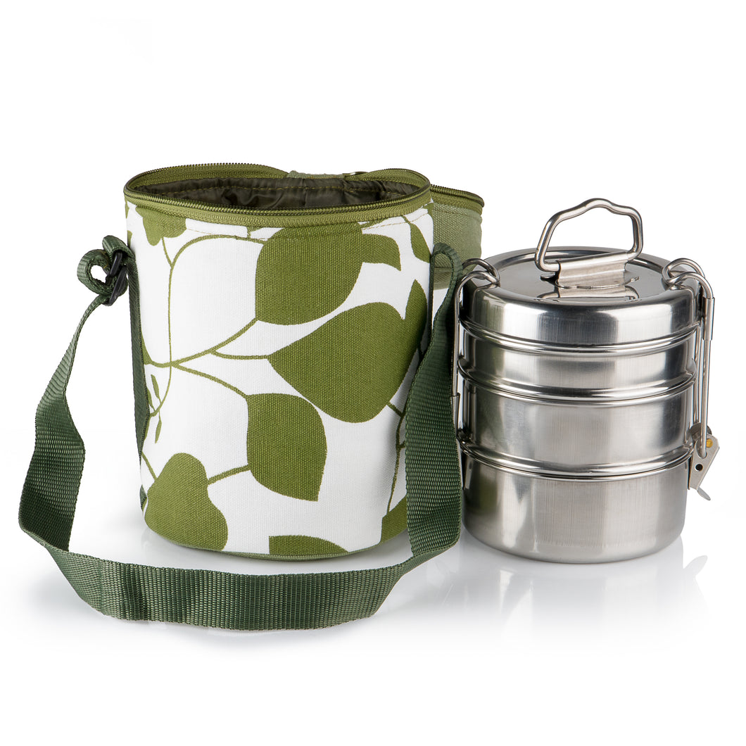 3 Tier Tiffin With Thermal Green Leafy Tiffin Bag