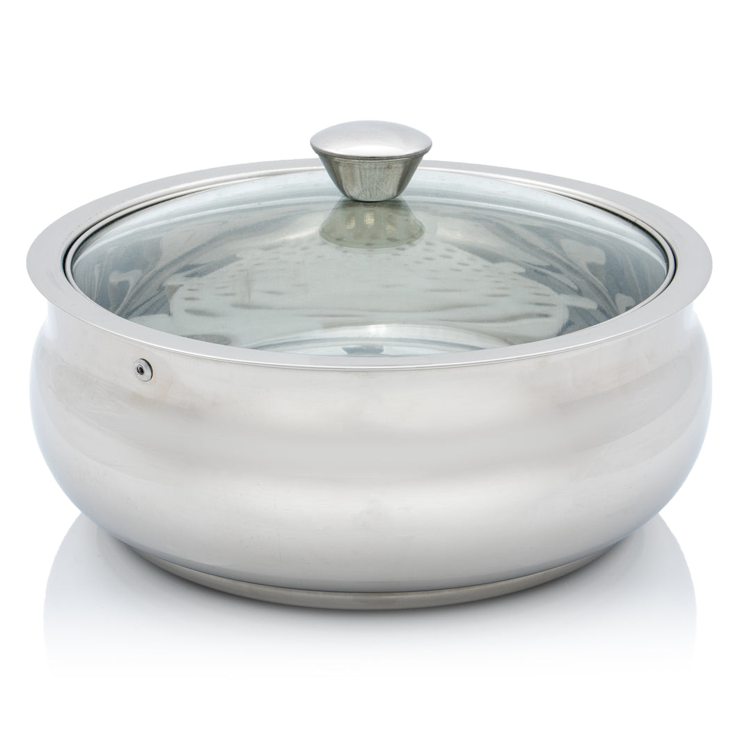 Stainless Steel Double Walled Insulated Belly Style Food Serving Pot with Lid