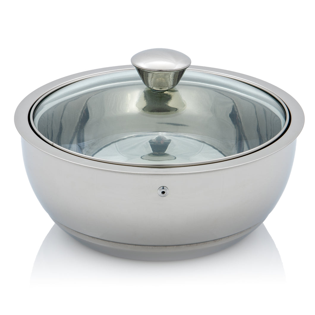 Stainless Steel Double Walled Insulated Food Serving Pot with Lid (Medium)