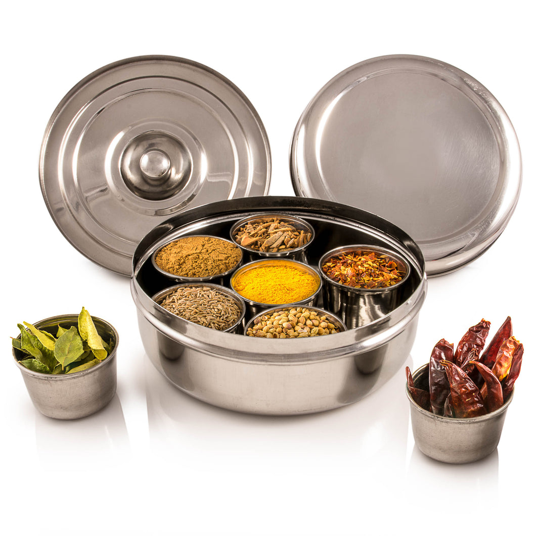 Authentic Indian Masala Dabba (Spice Rack) With Spices