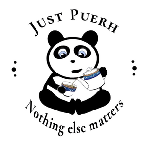 Cartoon panda bear pouring a cup of tea with 'Just Puerh' written above it and 'Nothing else matters' underneath