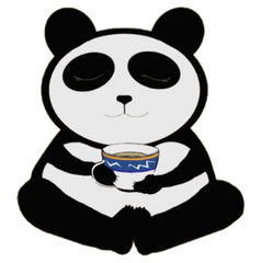 Cartoon panda bear with closed eyes holding a blue and white cup of tea