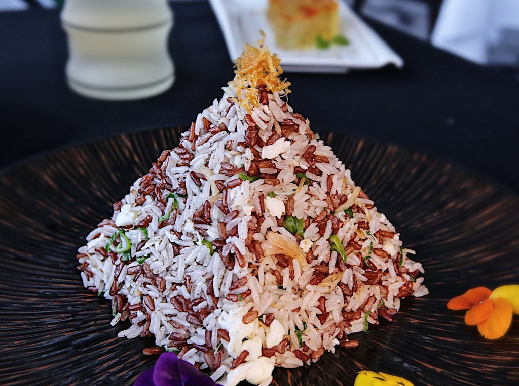 Fried Red Rice with Dried Scallop & Pine Nut