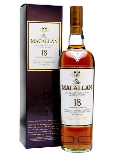 The Macallan 18 Year Old Sherry Oak Cask Single Malt Whisky, Scotland