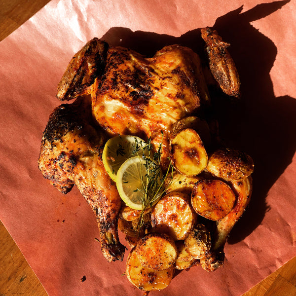 Roasted BBQ free range flattened chicken - Whole or Half