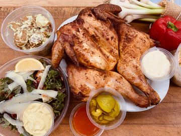 Ready to Cook Whole Chicken Meal Kit. Includes Potato salad, Coleslaw, Seasonal salad, sauces