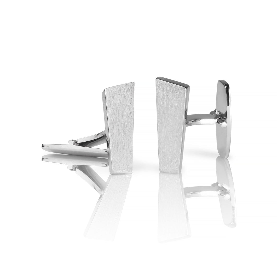 Norwegian made cufflink in matte silver - Pulpit Rock collection