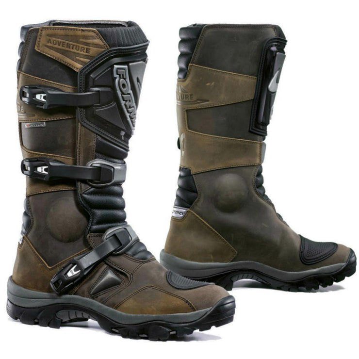 Forma Adventure motorcycle boots, brown adv touring riding scramble