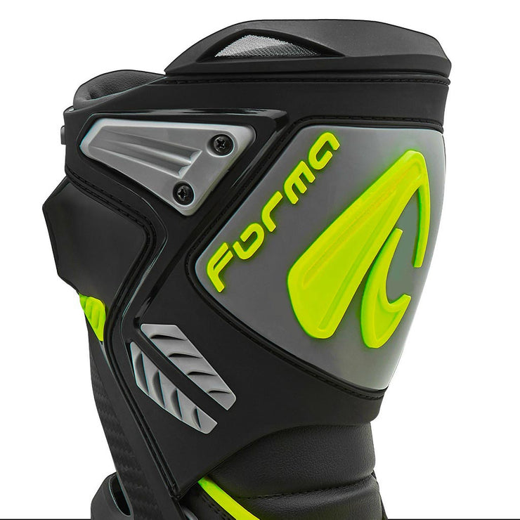 motorcycle boots | Forma Ice Pro black grey neon fluro shin protection