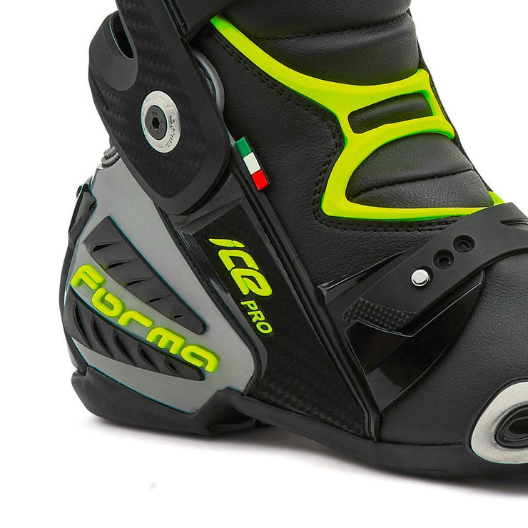 motorcycle boots | Forma Ice Pro black grey neon fluro ankle protection