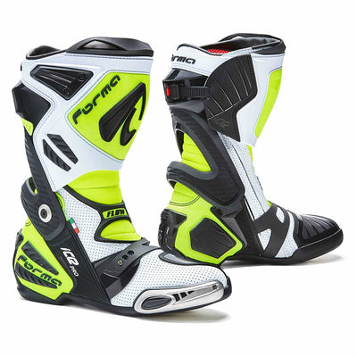 Forma motorcycle boots racing Ice Pro neon fluro white