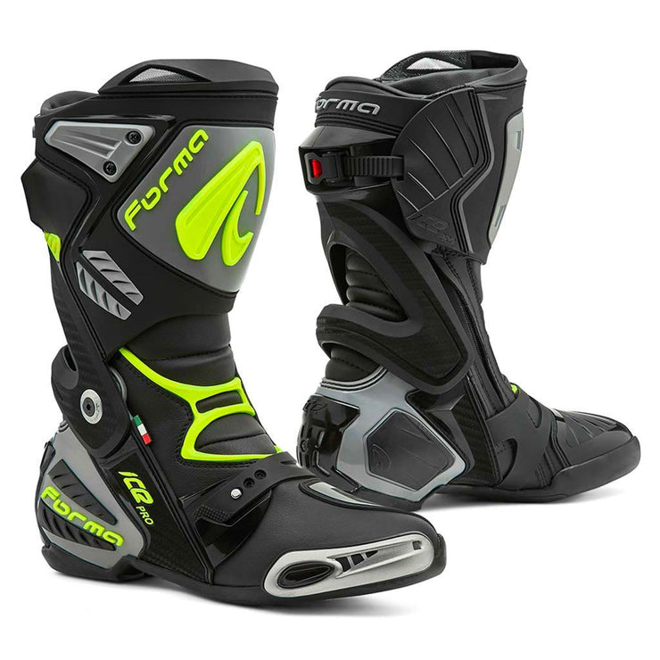 motorcycle boots | Forma Ice Pro black grey neon fluro home usa support factory world