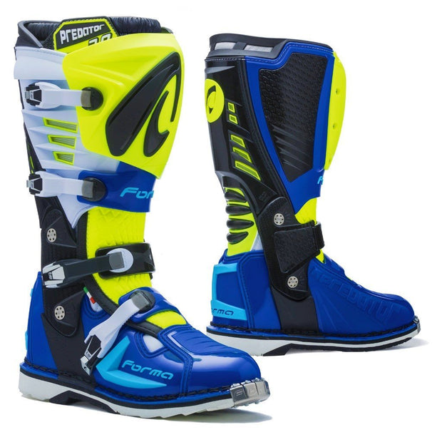 Forma Predator 2.0 motocross motorcycle boots Neon Fluro white blue