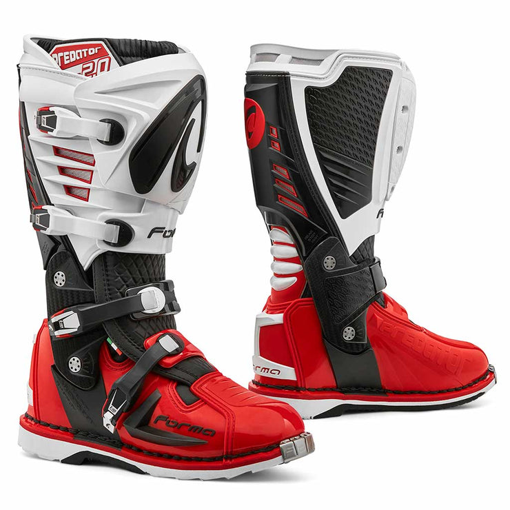 motocross boots Forma Predator 2.0 red white mx offroad best motorcycle footwear