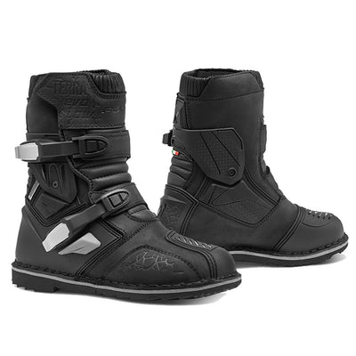motorcycle boots, forma terra evo low black best tech adventure adv short
