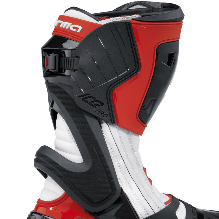 forma ice pro motorcycle boots red zip velcro ratchet closure