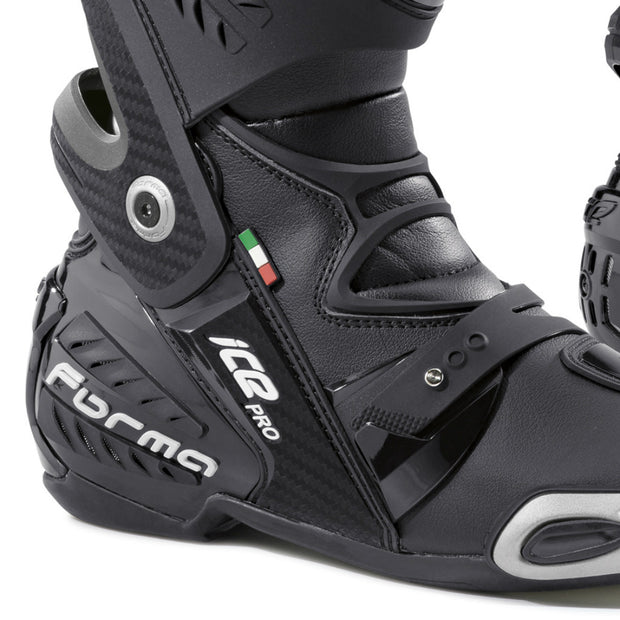 forma ice pro motorcycle boots black heel ankle protection