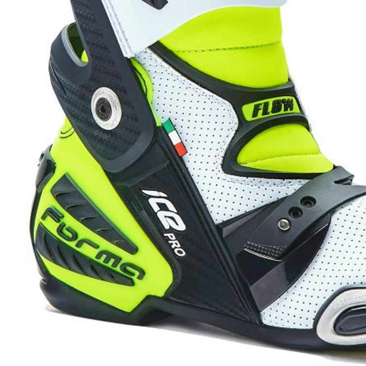 Forma Ice Pro Flow white Neon Fluro motorcycle boots ankle heel protection