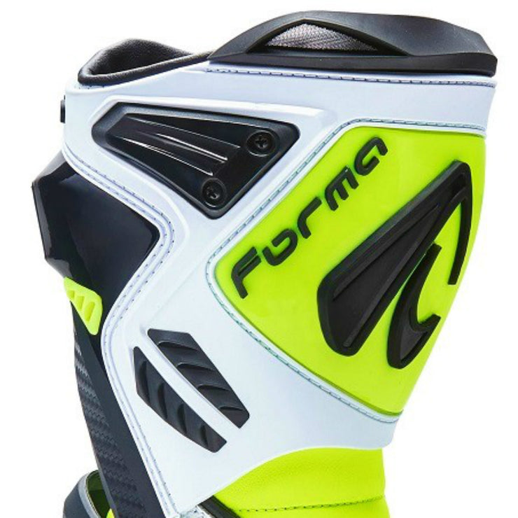 Forma Ice Pro Flow white Neon Fluro motorcycle boots shin protection