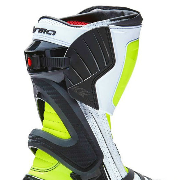 Forma Ice Pro Flow white Neon Fluro motorcycle boots inside protection