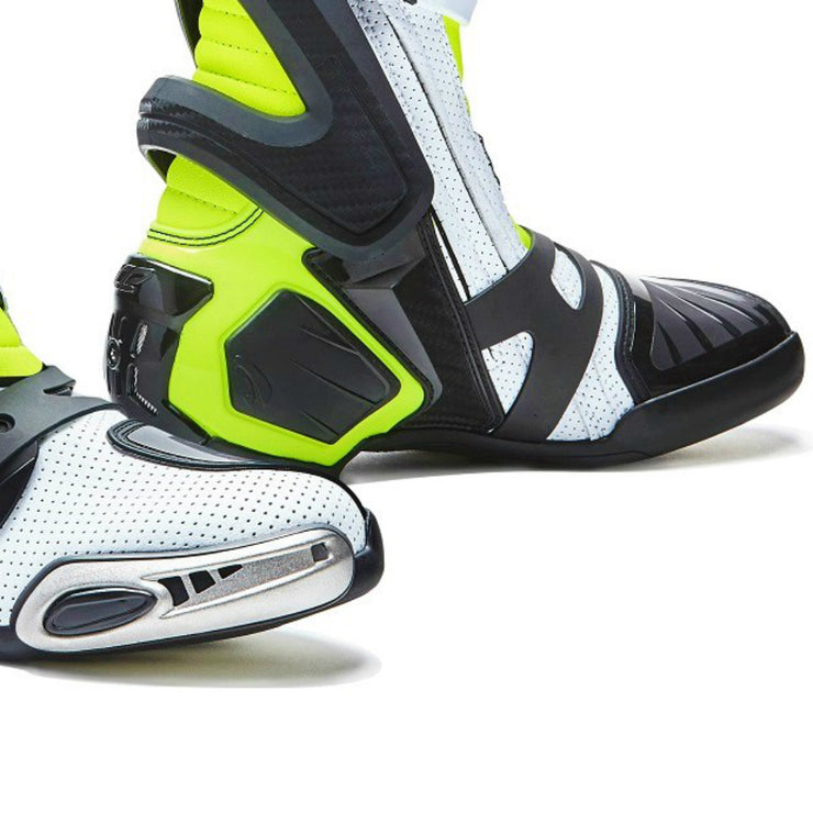 Forma Ice Pro Flow white Neon Fluro motorcycle boots toe protection
