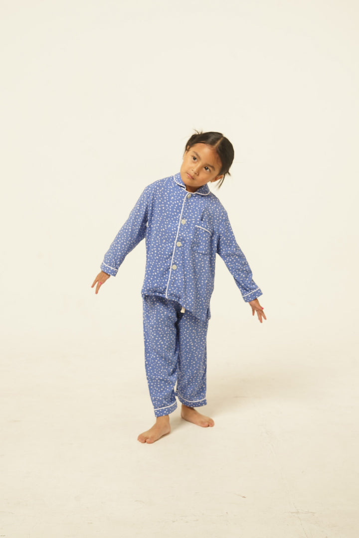 Praya Parigi Kids Rayon Long Sleeve Set in Blue Dots