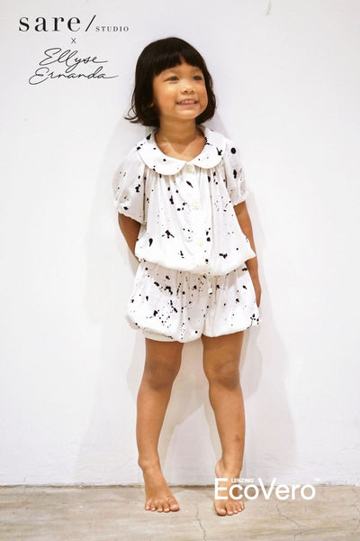 Baya Babydoll Kids Set in Off White Splats