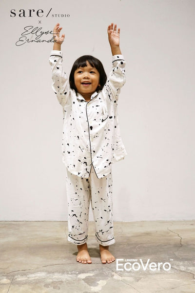 Praya Parigi Kids Long Sleeve Set in Off White Splats