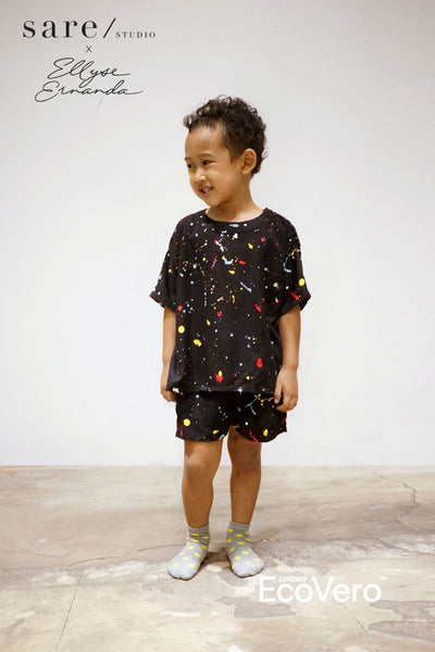 Wajo Unisex Kids Set in Off Black Splats