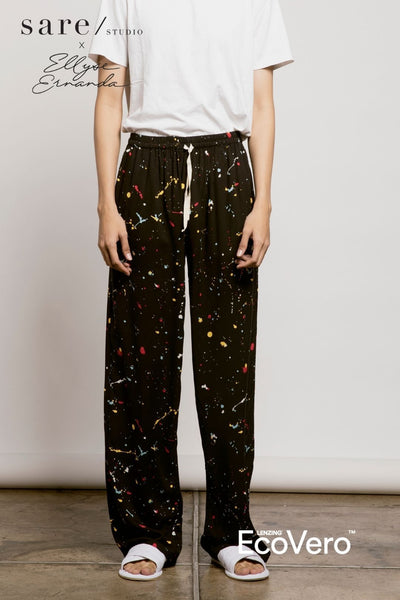 Parigi Men Pajama Pants in Off Black Splats