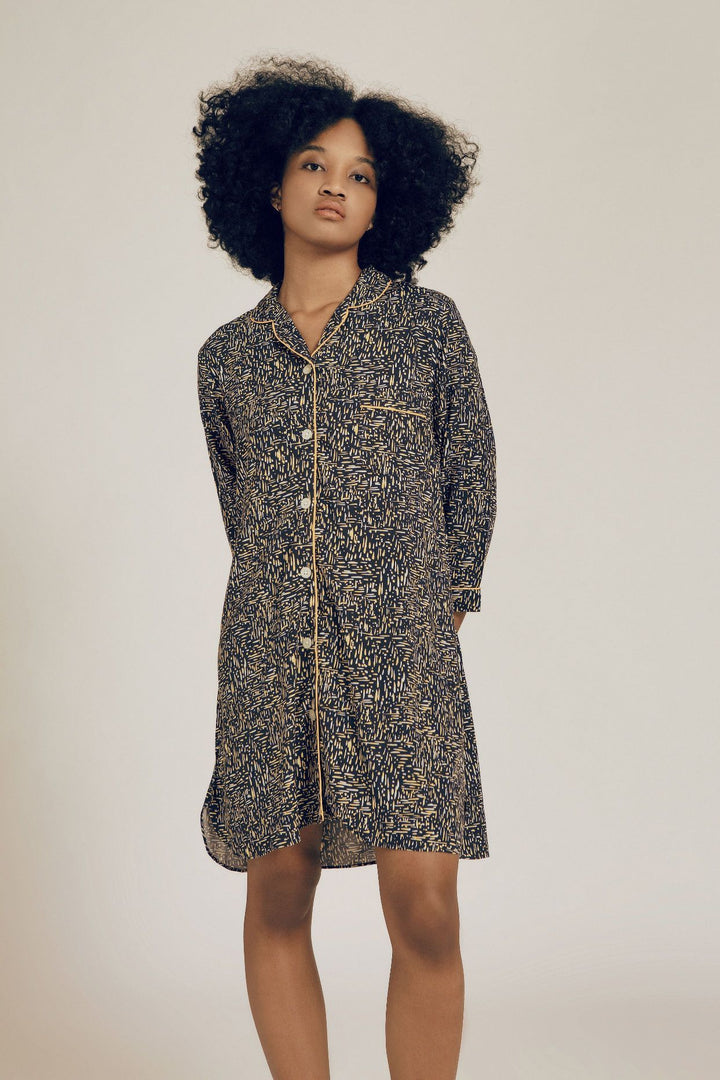 Marisa Rayon Long Sleeve Nightdress in Dash