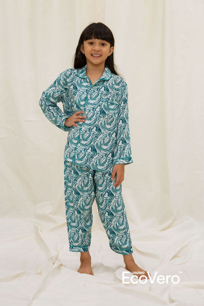 Praya Parigi Kids Long Sleeve Set in Wave