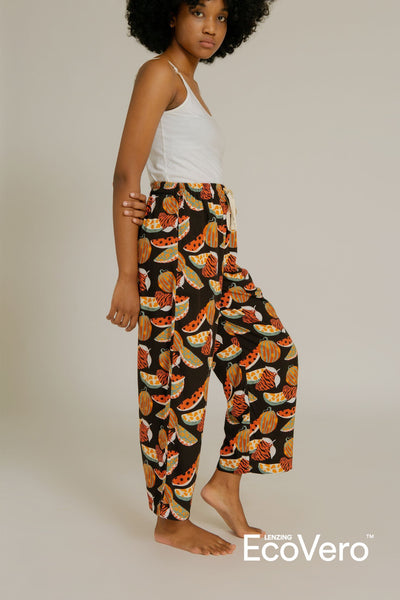 Parigi Pajama Pants in Black Fruit