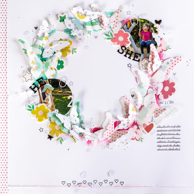 Wreath layout with layering butterflies | Ulrike Dold