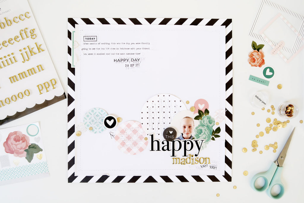 Happy Layout with Sketch + Process Video | Sheree Forcier